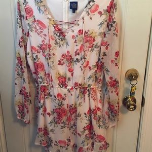 DISNEY'S BEAUTY & THE BEAST FLORAL ROMPER LARGE
